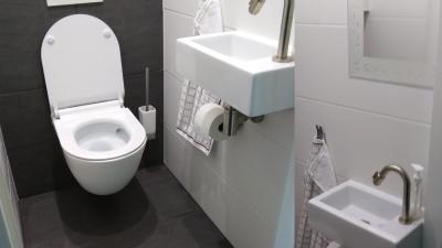 Toilette im Erdgeschoss des Ferienhauses - Schakelvilla - Ferienhaus im Beach Resort Makkum am IJsselmeer