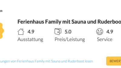 Bewertung Schakelvilla.de #schakelvilla Ferienhaus am Wasser für Familien mit Sauna und Ruderboot auf traum-ferienwohnungen