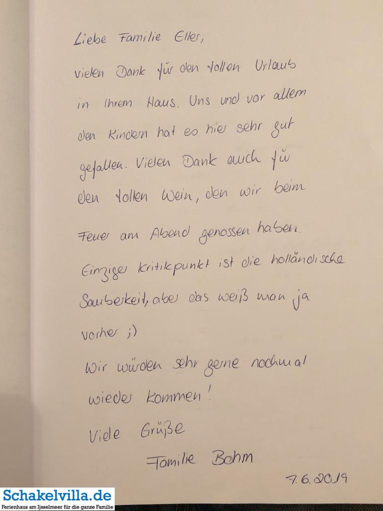 Gästebuch 07062019 - Schakelvilla - Ferienhaus mit Sauna und Ruderboot am IJsselmeer