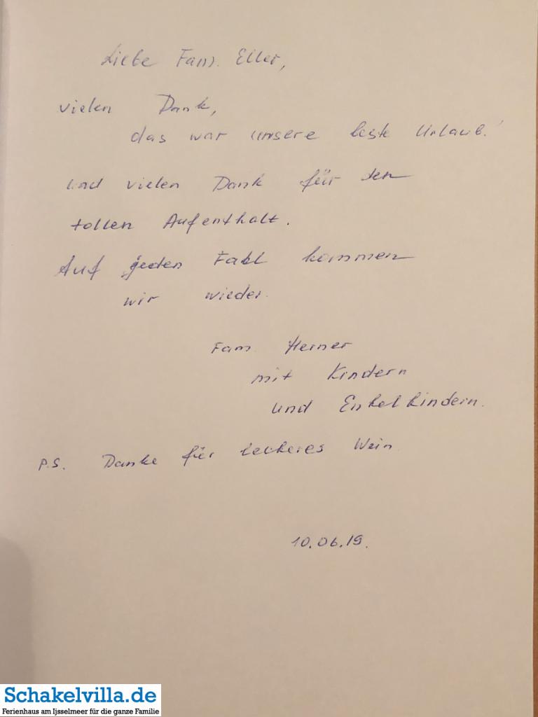 Gästebuch 10062019 - Schakelvilla - Ferienhaus mit Sauna und Ruderboot am IJsselmeer