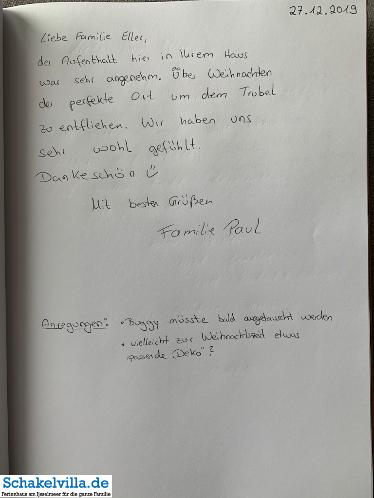 Gästebuch 27122019 - Schakelvilla - Ferienhaus mit Sauna und Ruderboot am IJsselmeer